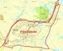 Skissen viser planområdet for Sørlandsparkens del i Kristiansand kommune.